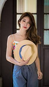 Pictures Asian Hat Hair Brown haired Staring female