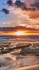 Wallpapers Italy Sicily Coast Sunrises and sunsets Sky Clouds Nature