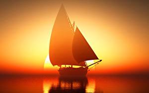 Hintergrundbilder Segeln Sonnenaufgänge und Sonnenuntergänge Meer Schiff Spiegelung Spiegelbild Sonne