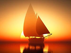Hintergrundbilder Segeln Sonnenaufgänge und Sonnenuntergänge Meer Schiffe Spiegelung Spiegelbild Sonne