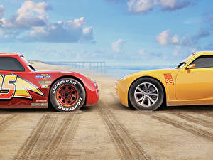 Bilder Cars 3 Zwei Gelb Rot Lightning McQueen, Cruz Ramirez