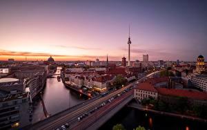 Fotos Morgen Deutschland Berlin Straße Gebäude Flusse Städte