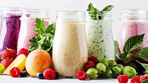 Hintergrundbilder Smoothie Obst Himbeeren Stachelbeere Trinkglas Einweckglas