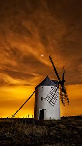 Fotos Spanien Morgendämmerung und Sonnenuntergang Himmel Mühle Natur