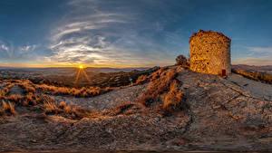 Fotos Spanien Sonnenaufgänge und Sonnenuntergänge Burg Sonne Castell de Torello