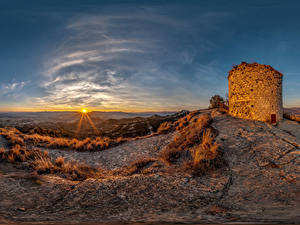 Images Spain Sunrises and sunsets Castles Sun Castell de Torello Nature
