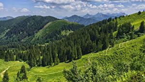 Bilder Deutschland Berg Wald Himmel Landschaftsfotografie Bayern Alpen Wolke Oberallgau