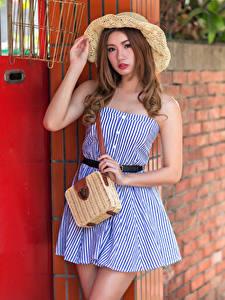 Wallpaper Asian Purse Posing Dress Hat Staring Blurred background female