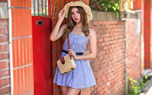 Fotos Asiatische Handtasche Posiert Kleid Der Hut Starren Unscharfer Hintergrund junge Frauen