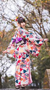 Tapety na pulpit Azjaci Kimono Pozować Bokeh dziewczyna