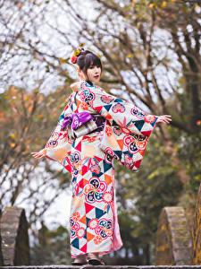 Hintergrundbilder Asiatisches Kimono Posiert Bokeh junge frau