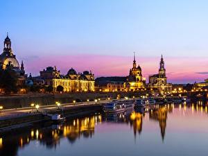 Hintergrundbilder Flusse Haus Dresden Deutschland Abend Städte