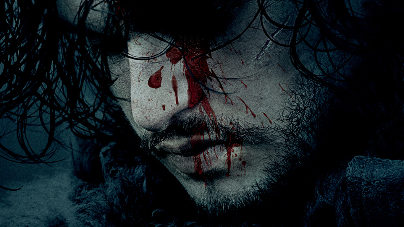 Images Game Of Thrones Kit Harington Men Blood Jon Snow 1366x768