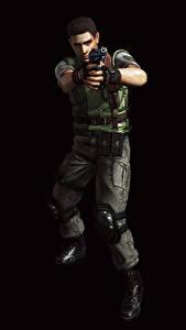 Fotos Resident Evil Mann Pistolen Polizei Schwarzer Hintergrund Chris Redfield 3D-Grafik