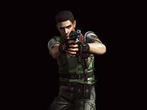 Fotos Resident Evil Mann Pistolen Polizei Schwarzer Hintergrund Chris Redfield Spiele 3D-Grafik