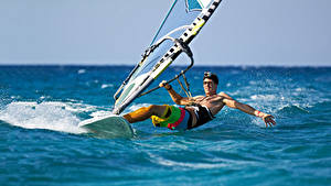 Pictures Sea Surfing Man athletic