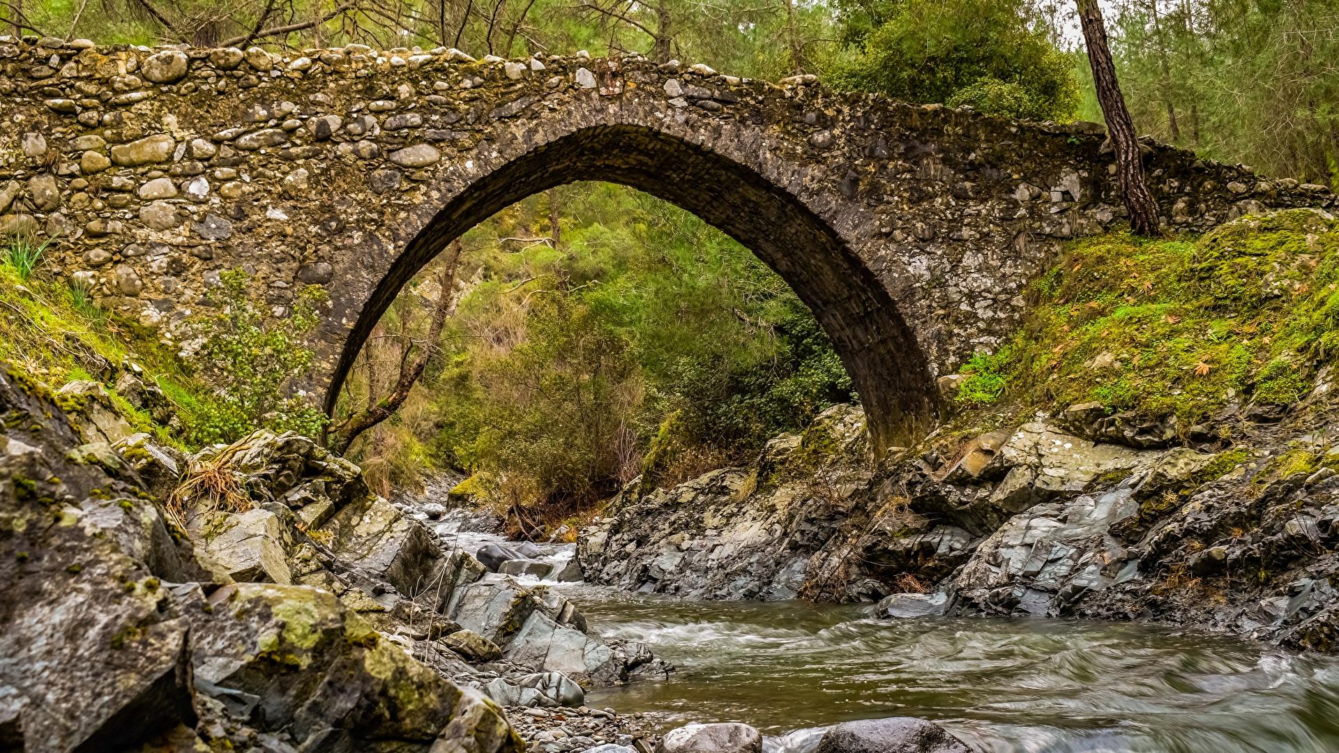 Image Arch Nature Stream Bridges Moss Stones 1920x1080 Creek brook bridge Creeks Streams stone