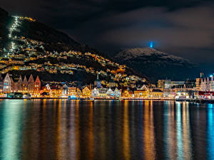 Wallpaper Norway Houses Mountains Berth Bay Night Bergen Cities