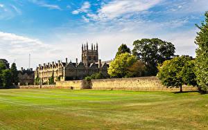 Fotos England Rasen Zaun Merton College Oxford University Städte