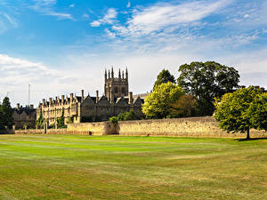 Fotos England Rasen Zaun Merton College Oxford University Städte