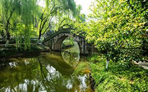 Sfondi desktop Cina Parco Stagno Ponti Alberi Natura