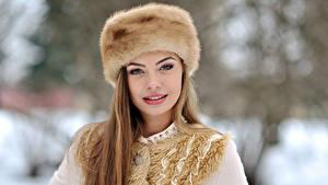 Hintergrundbilder Winter Dunkelbraun Mütze Gesicht