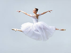 Wallpapers Jump Dancing Dress Brown haired Hands Ballet young woman