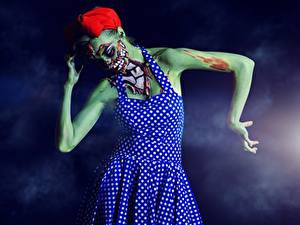 Hintergrundbilder Zombie Halloween Kleid Mädchens