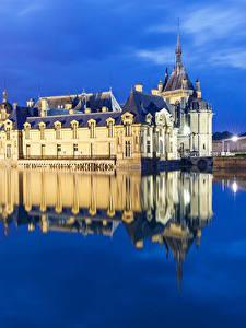 Desktop hintergrundbilder Frankreich Abend Teich Spiegelt Chateau de Chantilly Städte