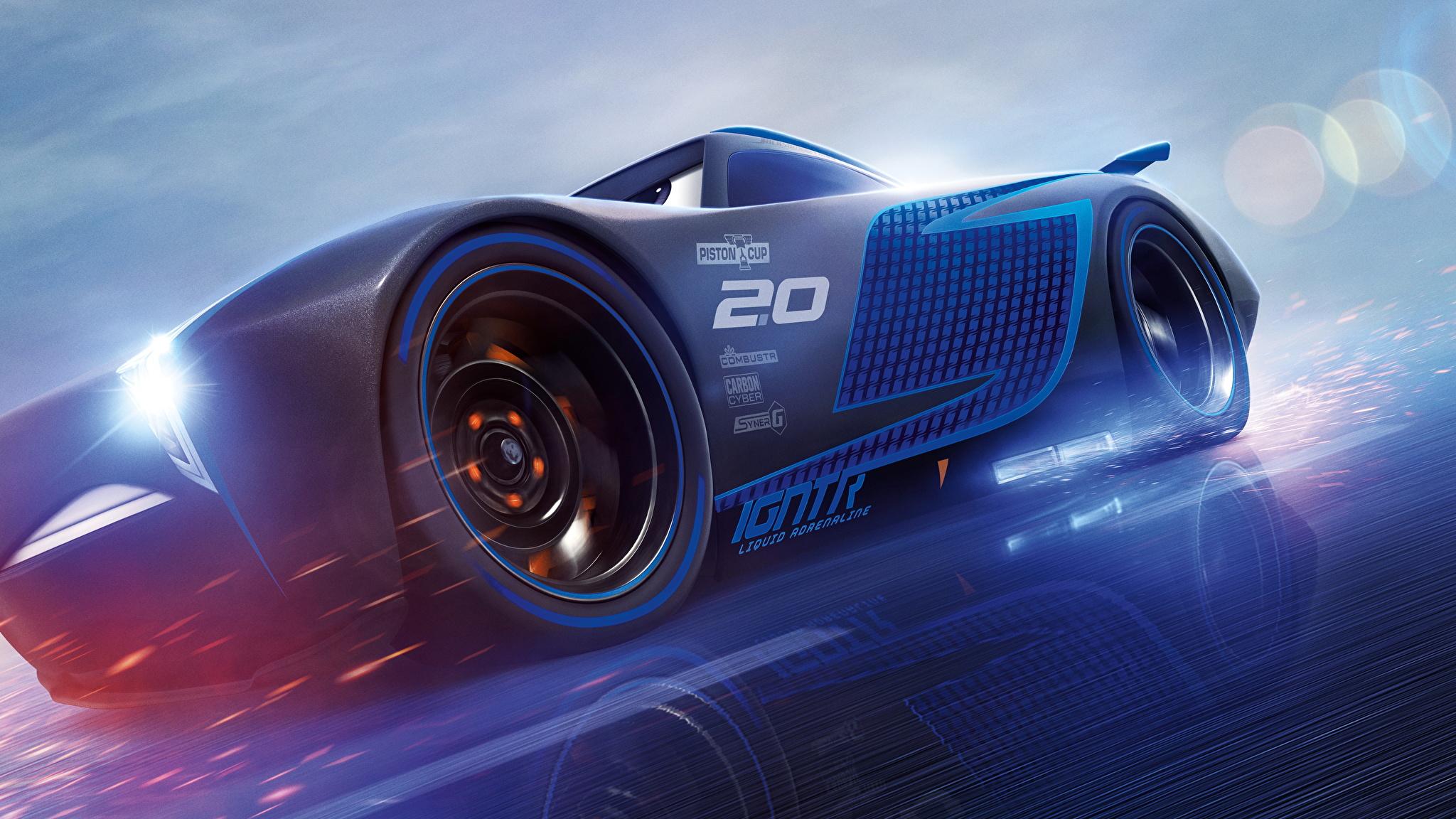 Fotos Cars 3 Jackson Storm Blau Animationsfilm 2048x1152 Zeichentrickfilm