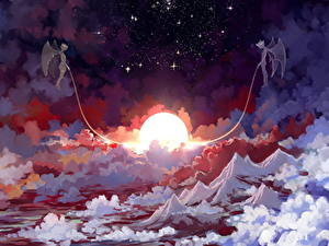 Bilder Engeln Dämonen Nacht Sonne Wolke Sleeping sun Fantasy