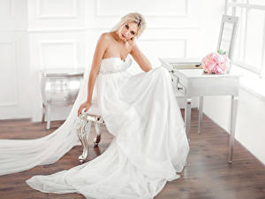Images Bouquets Blonde girl Brides Sit Dress Glance Girls