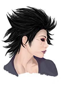 Fotos Gezeichnet Brünette Haar Kopf Weißer hintergrund