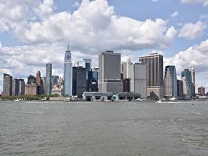 Wallpaper Skyscrapers Motorboat USA Bay New York City Manhattan Cities