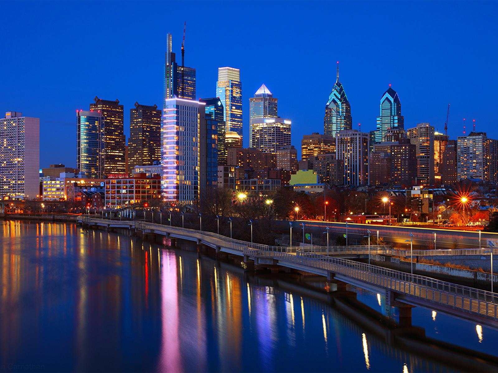 Pictures USA Philadelphia Bridges Rivers Evening 1600x1200