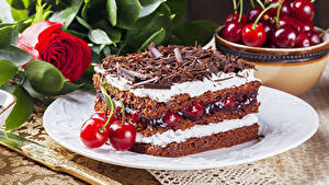 Bilder Torte Kirsche Schokolade Rosen Stück