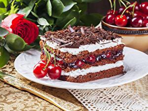 Bilder Torte Kirsche Schokolade Rosen Stück das Essen