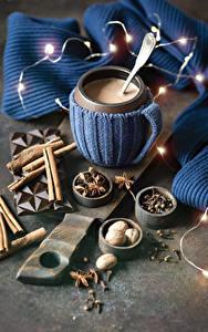Fotos Kakao Getränk Zimt Sternanis Tasse Lichterkette Lebensmittel