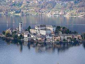 Pictures Lake Island Houses Italy Orta San Giulio, lake Orta, island of San Giulio Cities