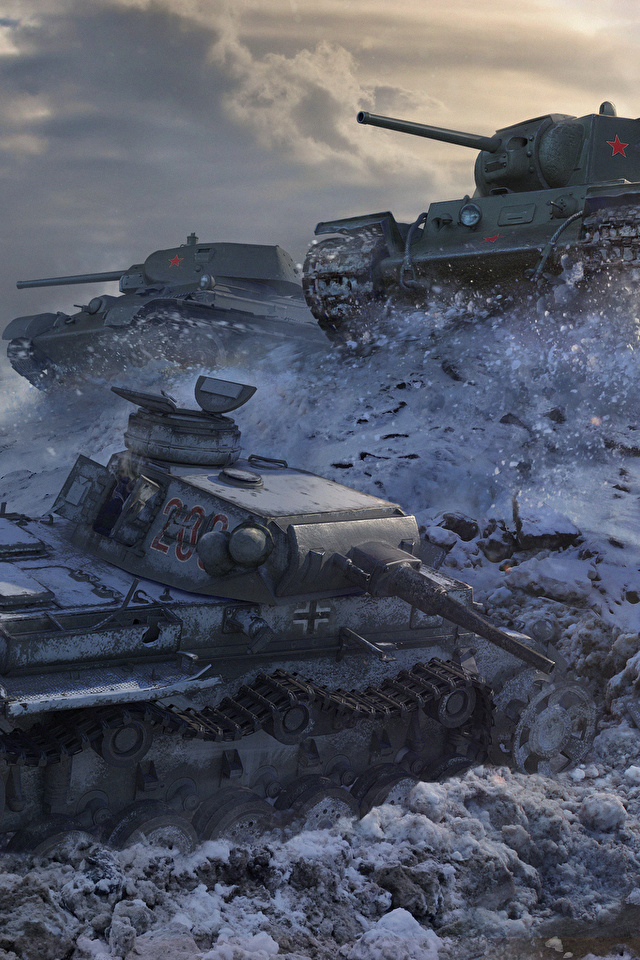 Fotos WOT T-34 Panzer Deutsch Russische KV-1, PzKpfw III Spiele 640x960 World of Tanks