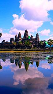 Pictures Lake Temples Religion Clouds Reflection Cambodia, Angkor Wat Cities