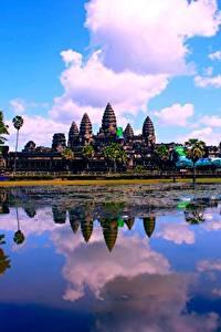 Bilder See Tempel Religion Wolke Spiegelt Cambodia, Angkor Wat Städte
