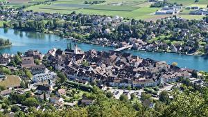 Hintergrundbilder Schweiz Haus Fluss Brücken Von oben Stein Am Rhein, Rhine river, Canton of Schaffhausen Städte