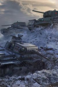 壁纸、、戦車、T-34、ワールドオブタンクス、ロシアの、ドイツ語、KV-1, PzKpfw III、ゲーム