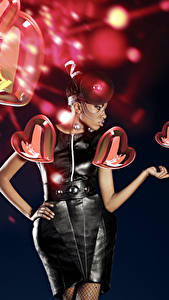 Fonds d'écran Saint-Valentin Fond noir Cœur Les robes Nègre