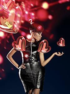 Hintergrundbilder Valentinstag Schwarzer Hintergrund Herz Kleid Neger Mädchens