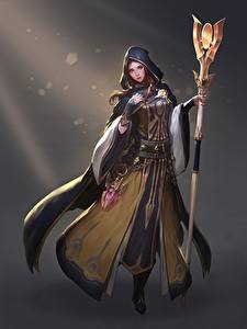 Bilder Magier Hexer Grauer Hintergrund Magierstab Umhang Kapuze Sorceress Cleric Heewon Kang Fantasy Mädchens