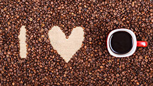 Wallpapers Valentine's Day Coffee Heart Cup Grain
