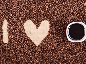 Bilder Valentinstag Kaffee Herz Tasse Getreide
