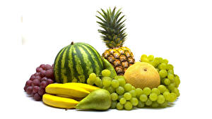 Image Fruit Watermelons Grapes Bananas Pears Melons Pineapples White background